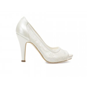 Pantofi Epica Albi, Pentru Mireasa, 8637, Din Material Textil