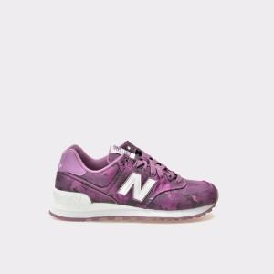 Pantofi Sport New Balance Mov, Wl574, Din Material Textil Si Piele