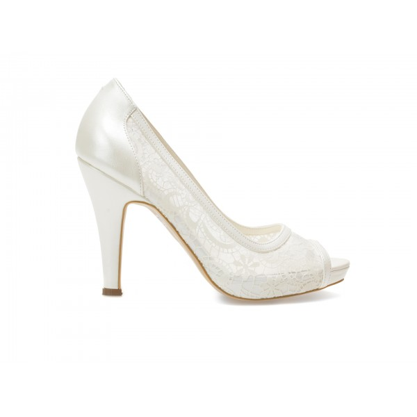 Pantofi EPICA albi, pentru mireasa, 8637, din material textil de la Epica otter.ro