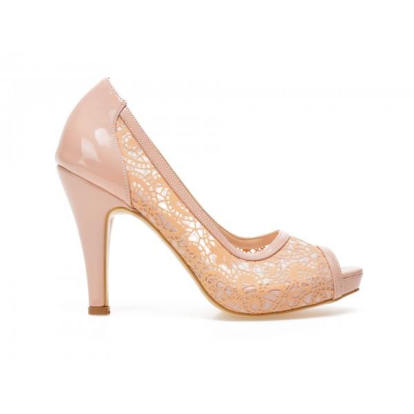 Pantofi EPICA bej, 8637, pentru mireasa, din material textil de la Epica otter.ro