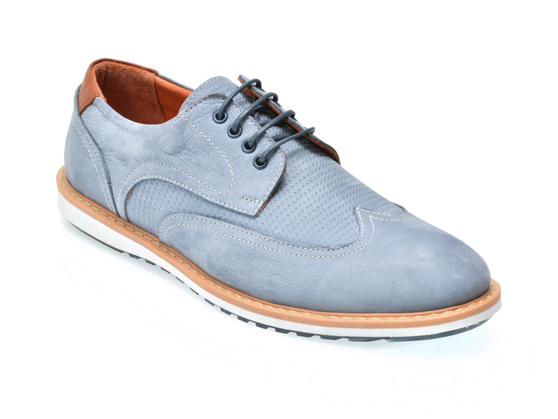 Pantofi OTTER albastri, M3773, din nabuc
