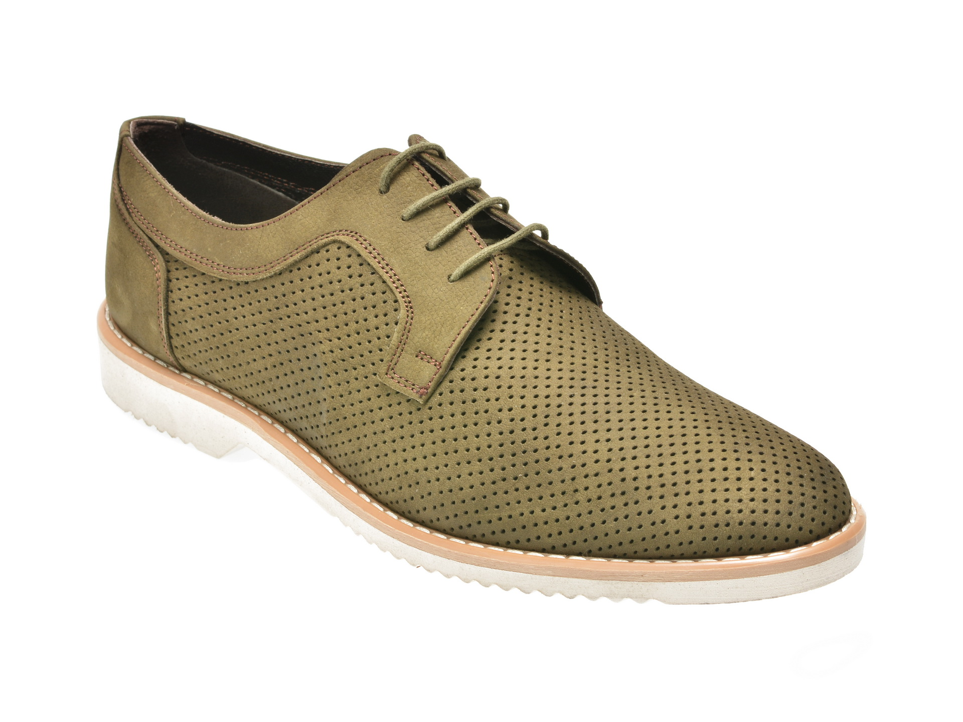 Pantofi OTTER kaky, 1307, din nabuc