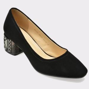 Pantofi EPICA negri, 6G133, din piele intoarsa
