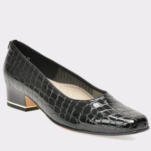 Pantofi ARA negri, 41859, din piele ecologica cu efect croco