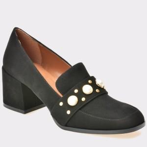 Pantofi EPICA negri, 2341, din piele intoarsa