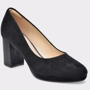 Pantofi CLARKS negri, 6124016, din piele intoarsa