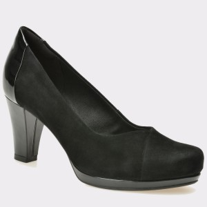 Pantofi CLARKS negri, 6128819, din piele intoarsa