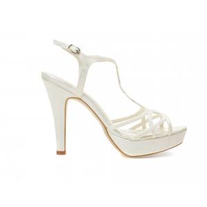 Sandale EPICA albe, pentru mireasa, 8664, din piele ecologica