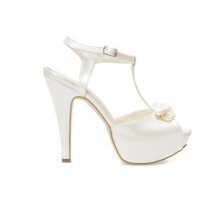 Sandale EPICA albe, pentru mireasa, 2055, din piele ecologica