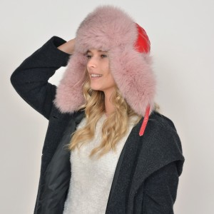Caciula KLOP roz, 30, din material textil si piele naturala