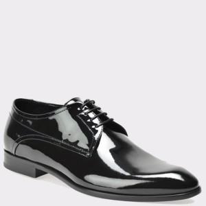 Pantofi HUGO BOSS negri, 75039, din piele lacuita