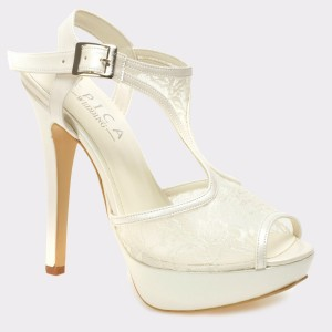 Pantofi EPICA albi, pentru mireasa, 1545, din material textil