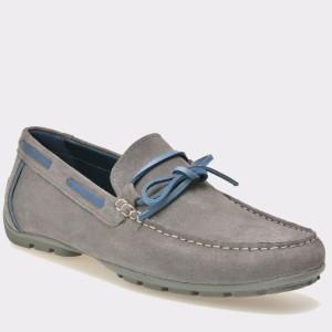 Pantofi mocasini GEOX gri, U7244A, din piele intoarsa