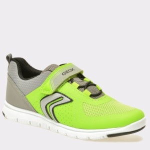 Pantofi pentru copii GEOX verzi-gri, J723Nb, din piele ecologica