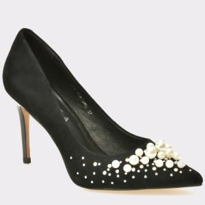 Pantofi EPICA negri, 121M, din piele intoarsa