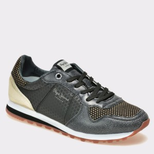 Pantofi PEPE JEANS negri, Ls30537, din material textil