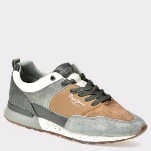 Pantofi PEPE JEANS gri, Ms30382, din piele intoarsa