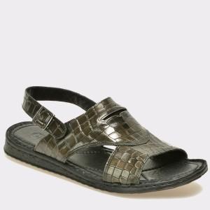 Sandale OTTER negre, 17512, din piele naturala cu efect croco