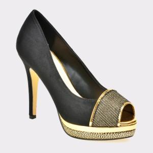Pantofi MENBUR negri, 7760, din material textil