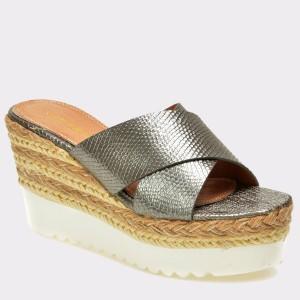 Papuci IMAGE argintii, 1509228, din piele ecologica