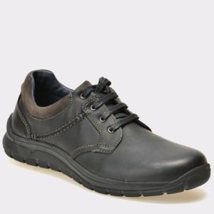 Pantofi OTTER negri, 7273, din piele naturala