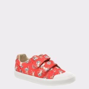 Pantofi pentru copii CLARKS rosii, 6133341, din canvas