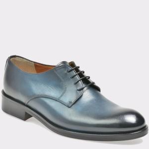 Pantofi bleumarin, T113, din piele naturala