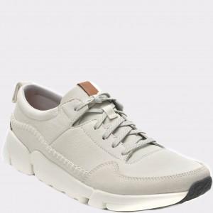 Pantofi sport CLARKS albi, 6132277, din piele naturala