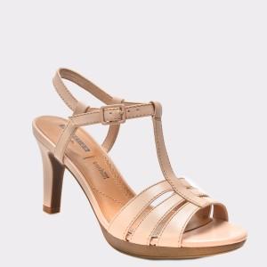 Sandale CLARKS nude, 6134013, din piele naturala