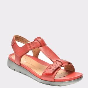 Sandale CLARKS rosii, 6124068, din piele naturala
