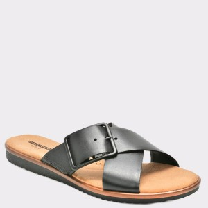 Papuci CLARKS negri, 6133577, din piele naturala