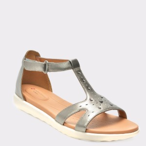 Sandale CLARKS argintii, 6133243, din piele naturala
