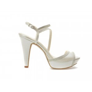 Pantofi Epica Albi, Pentru Mireasa, 8641, Din Piele Ecologica