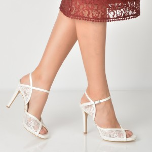 Sandale Epica Albe Pentru Mireasa, 3153029, Din Material Textil