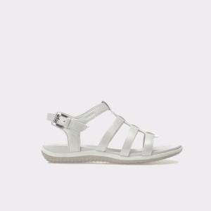 Sandale GEOX albe, D72R6A, din piele naturala