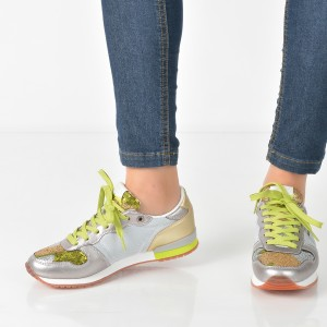 Pantofi Sport Pepe Jeans Argintii, Ls30620, Din Piele Ecologica