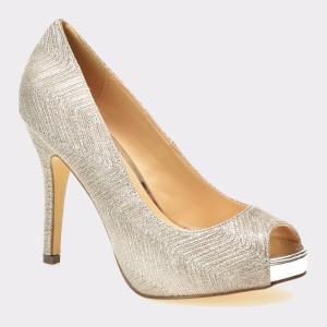 Pantofi MENBUR argintii, 7151, din material textil