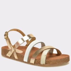 Sandale pentru copii SELECTIONS alb-auriu, ALMENDR, din piele naturala