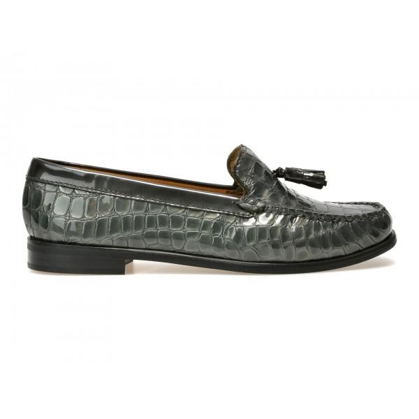 Pantofi mocasini OTTER gri, 19001, din piele naturala cu efect croco de la Otter tezyo.ro – by OTTER Distribution