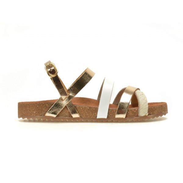 Sandale Pentru Copii Selections Alb-auriu  Almendr  Din Piele Naturala