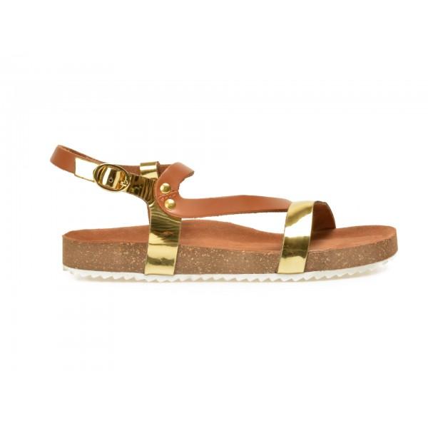 Sandale Pentru Copii Selections Aurii  Sh1216  Din Piele Naturala