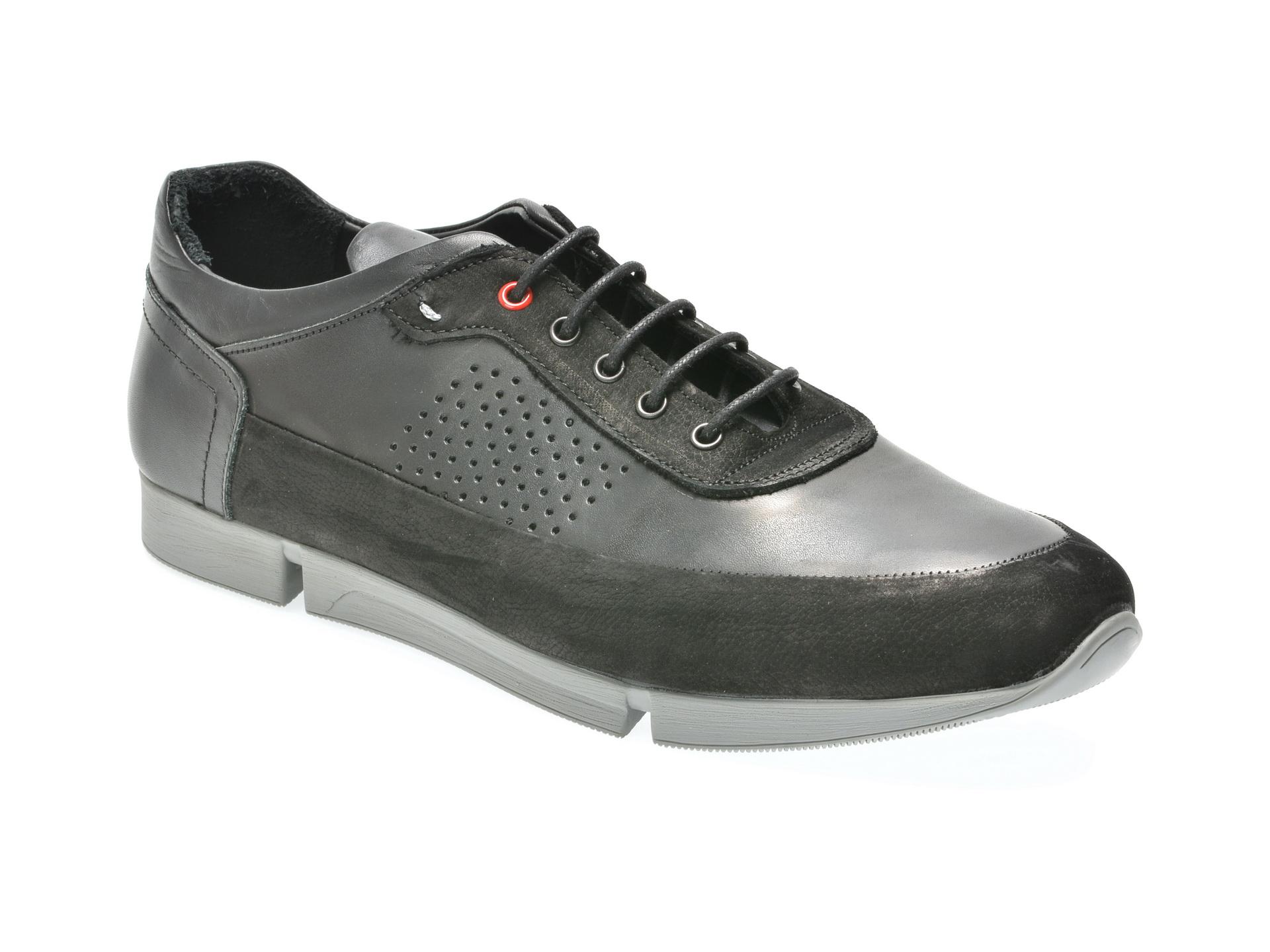 Pantofi OTTER negri, M4557, din piele naturala