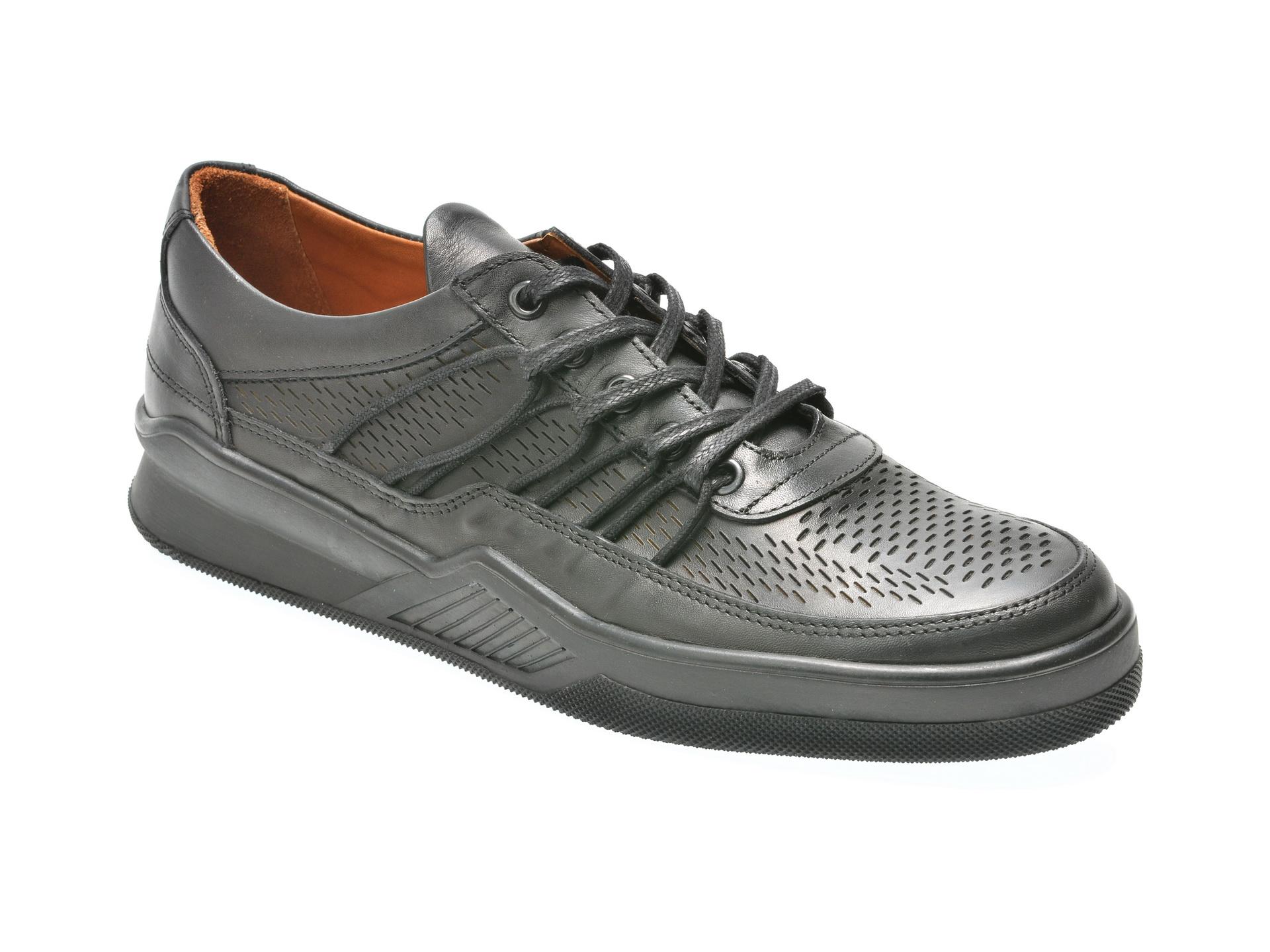 Pantofi OTTER negri, M4571, din piele naturala