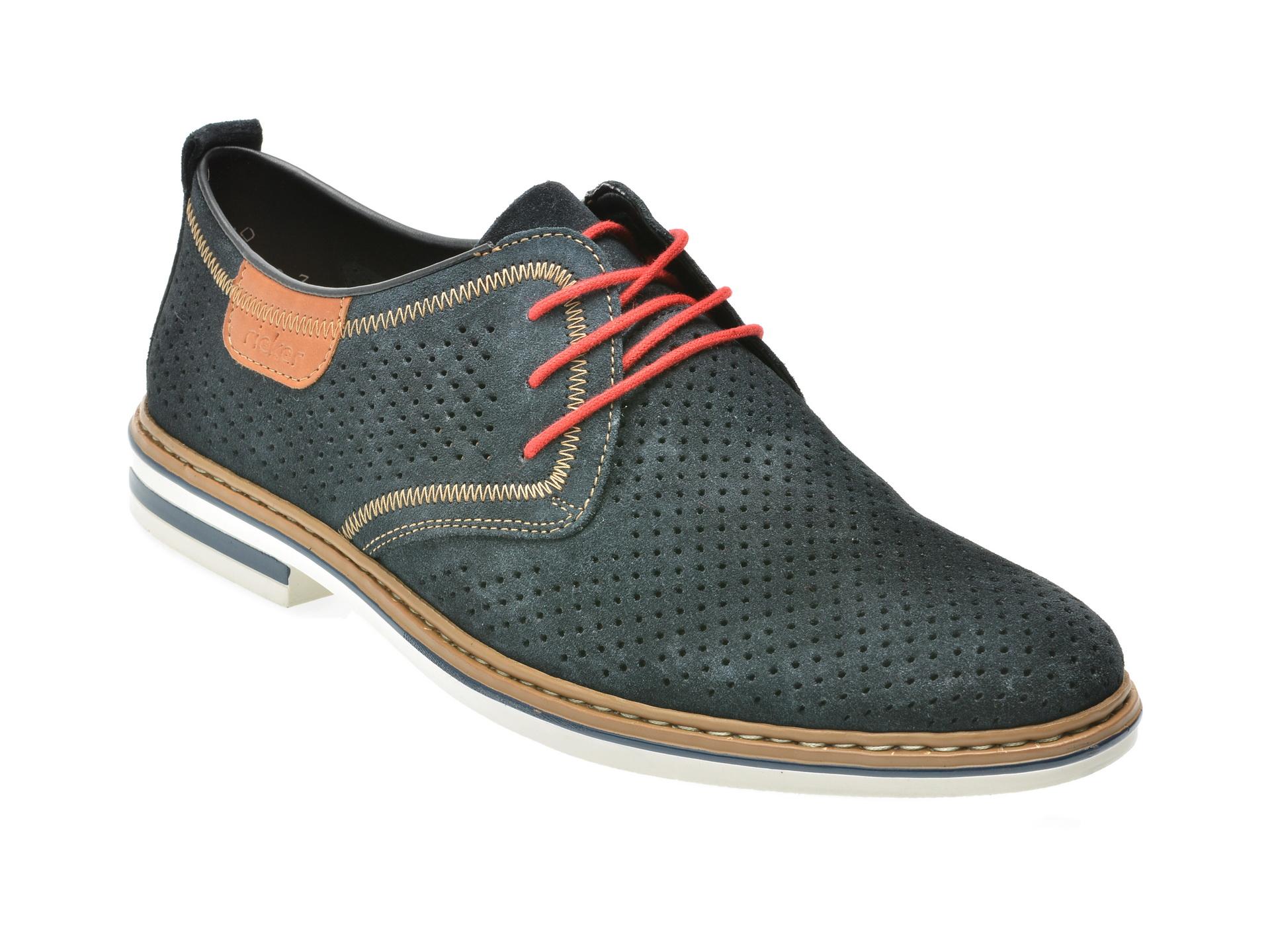 Pantofi RIEKER bleumarin, B1406, din piele intoarsa